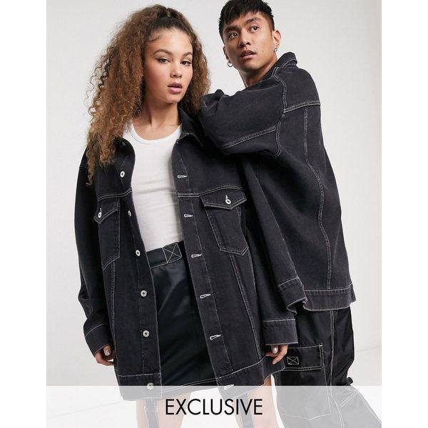 コリュージョン レディース ジャケット&ブルゾン アウター COLLUSION Unisex oversized branded denim jacket in black Black