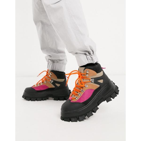 エイソス メンズ ブーツ&レインブーツ シューズ ASOS DESIGN lace up hiker boots in stone faux suede with color pop detail on black chunky sole Multi