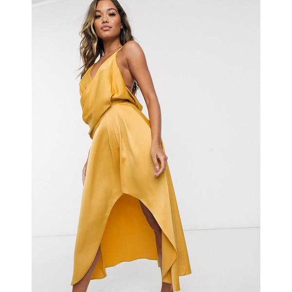 エイソス レディース トップス ワンピース Gold 全商品無料サイズ交換 ASOS DESIGN 安い satin drape dress 人気 gold in midi minimal