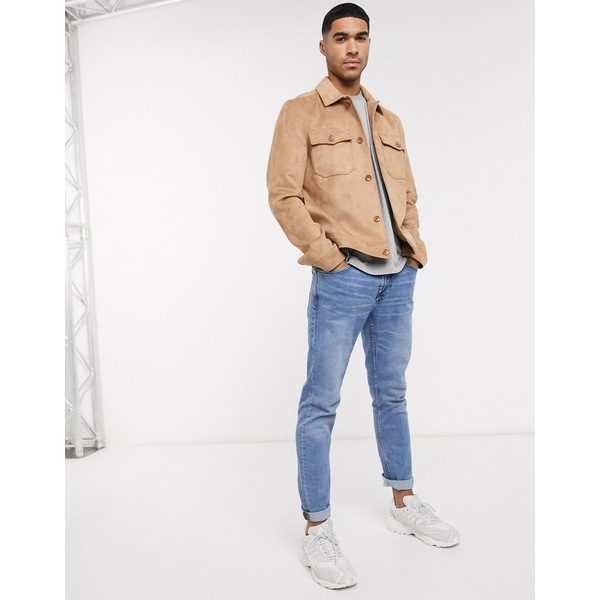 エイソス メンズ ジャケット&ブルゾン アウター ASOS DESIGN faux suede harrington jacket with utility pockets in tan Tan