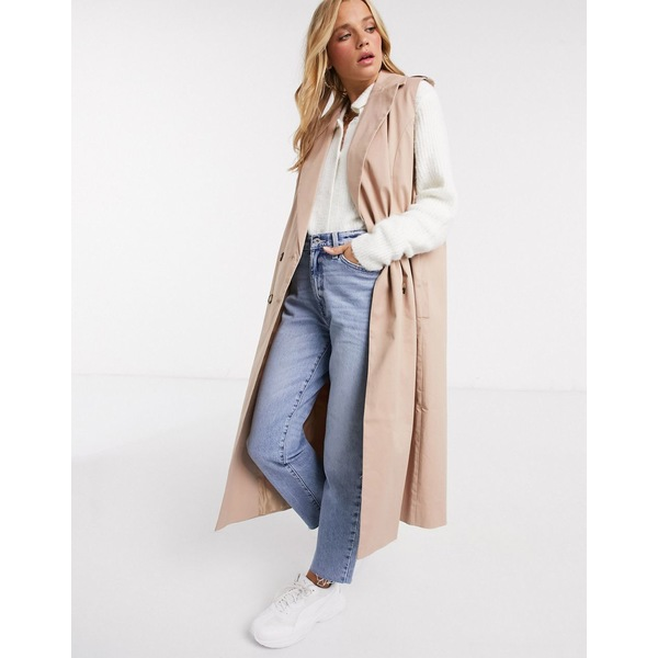 エイソス レディース コート アウター ASOS DESIGN sleeveless trench coat in stone Stone