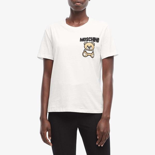 モスキーノ レディース シャツ トップス Teddy Bear T-Shirt White