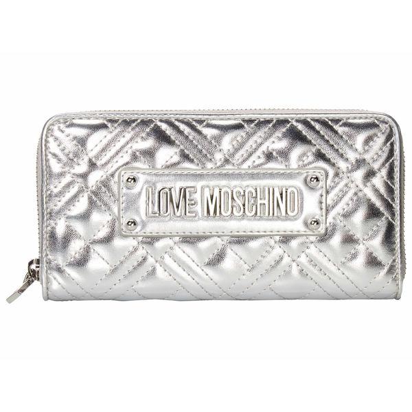 ラブ モスキーノ レディース 財布 アクセサリー Quilted Zip Around Wallet Silver