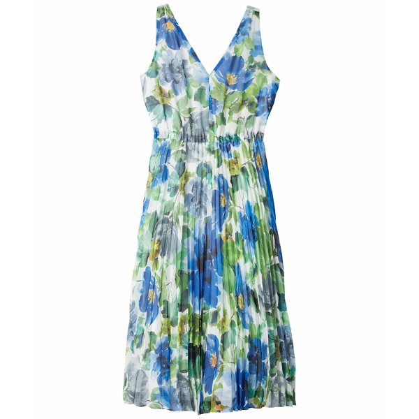 マギーロンドン レディース ワンピース トップス Watercolor Printed Chiffon A-Line Dress w/ Pleated Skirt Soft White/Cobalt