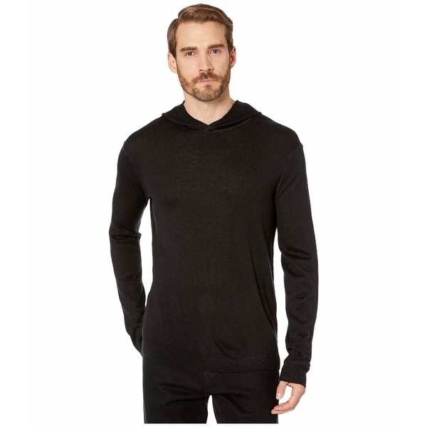 ジョンバルベイトス メンズ パーカー・スウェットシャツ アウター Cashmere Blend Pullover Hoodie with Rib Stitch Y2748V4 Black