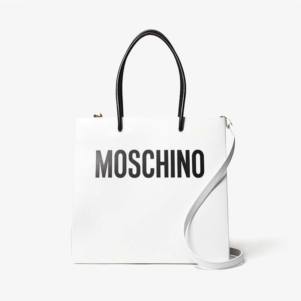 モスキーノ レディース ハンドバッグ バッグ Shopping Bag Tote White Multi