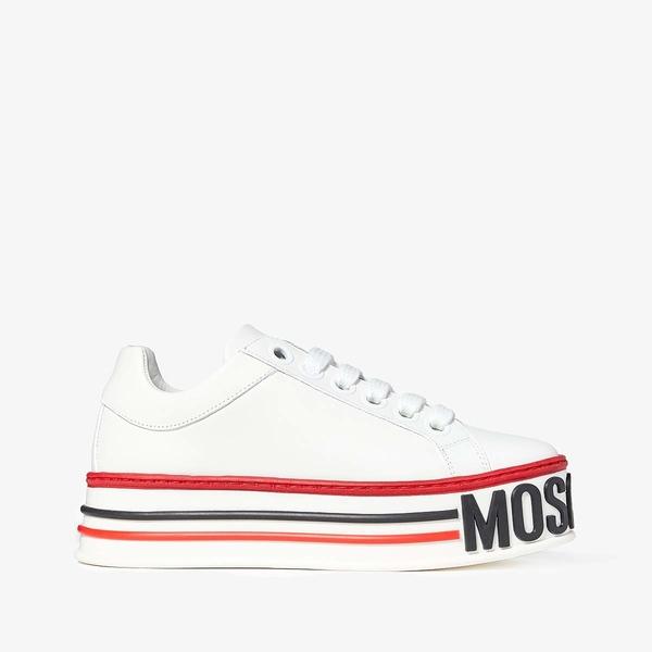 モスキーノ レディース スニーカー シューズ Flatform Sneaker White