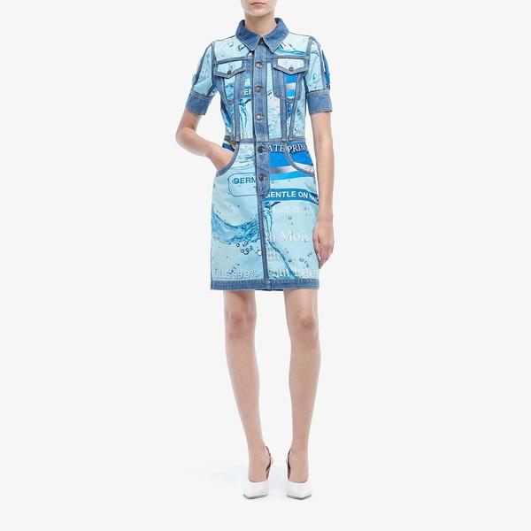 モスキーノ レディース ワンピース トップス Consumer Print Denim Dress Multi