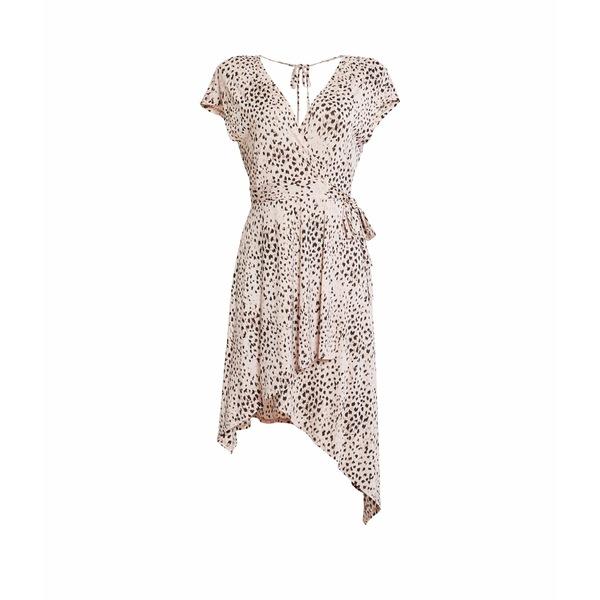 ビーシービージーマックスアズリア レディース ワンピース トップス V-Neck Asymmetric Knit Dress Pink Rose Painted