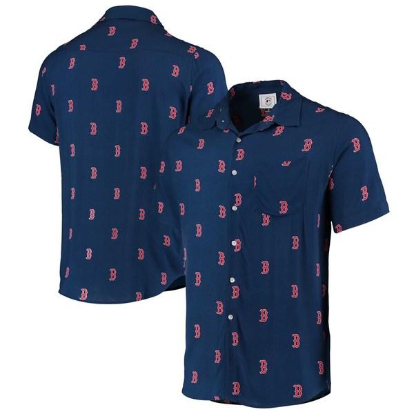 フォコ メンズ シャツ トップス Boston Red Sox Mini Print Logo Button-Up Shirt Navy