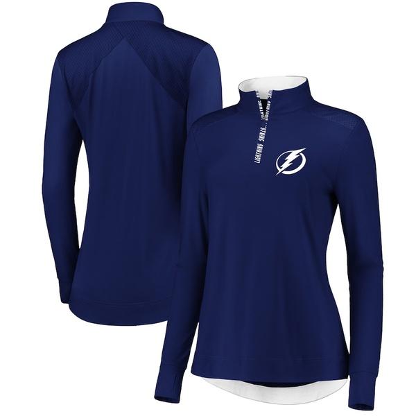 ファナティクス レディース ジャケット&ブルゾン アウター Tampa Bay Lightning Fanatics Branded Women's Iconic Clutch Half-Zip Mock Neck Pullover Jacket Blue/White
