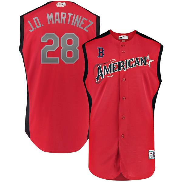 マジェスティック メンズ シャツ トップス J.D. Martinez American League Majestic 2019 MLB All-Star Game Workout Player Jersey Red