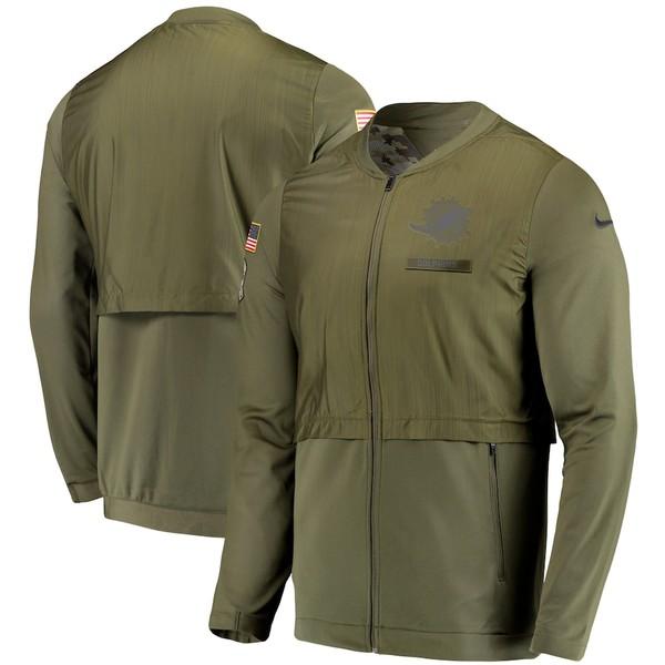 ナイキ メンズ ジャケット&ブルゾン アウター Miami Dolphins Nike Salute to Service Sideline Elite Hybrid Full-Zip Jacket Olive