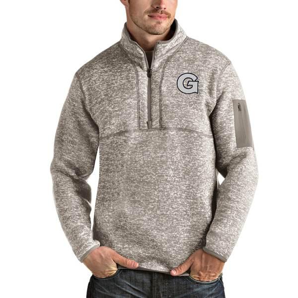アンティグア メンズ ジャケット&ブルゾン アウター Georgetown Hoyas Antigua Fortune Half-Zip Pullover Jacket Oatmeal