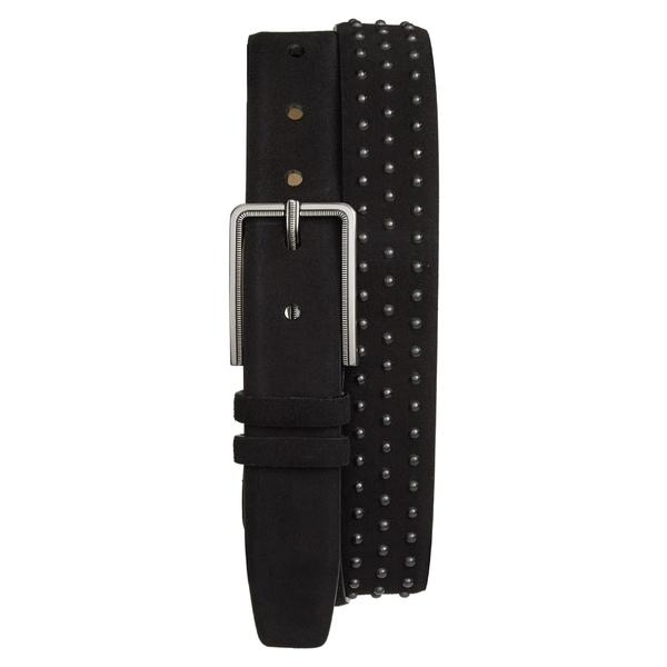 メズラン メンズ ベルト アクセサリー Mezlan Studded Suede Belt Black
