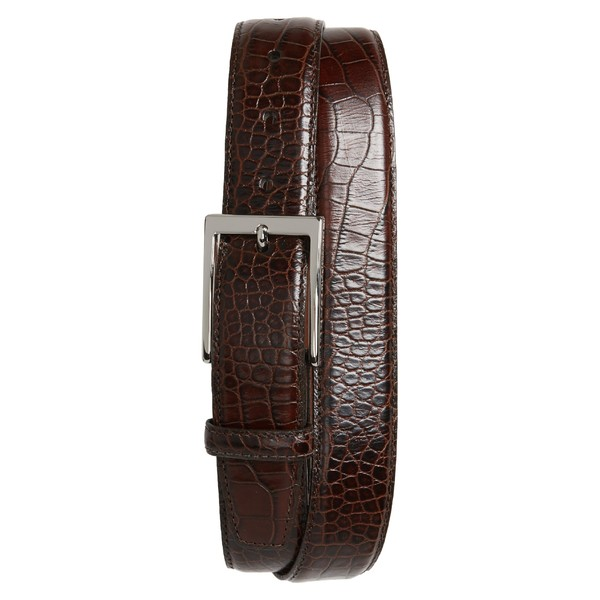 トリノ メンズ ベルト アクセサリー Torino Gator Grain Embossed Leather Belt Brown