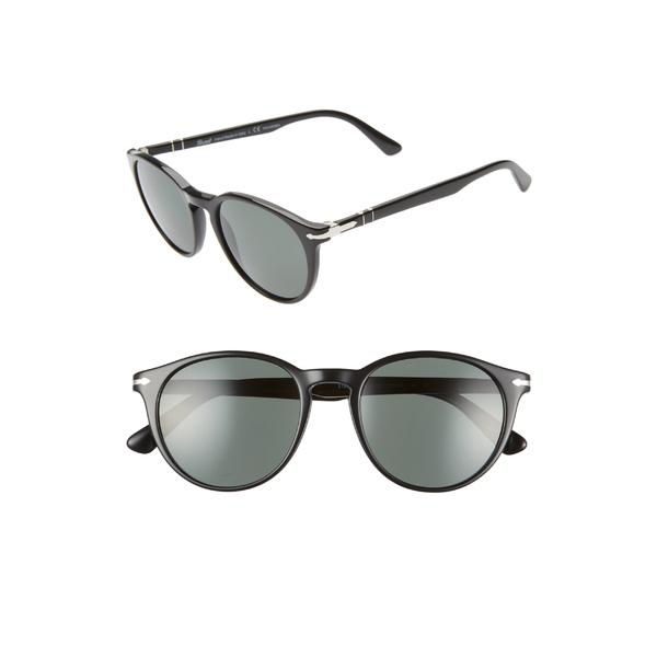 ペルソル レディース サングラス&アイウェア アクセサリー Persol 52mm Polarized Round Sunglasses Green/ Grey