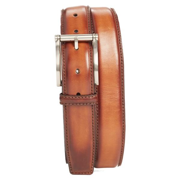 マグナーニ メンズ ベルト アクセサリー Magnanni Carbon Leather Belt Cognac