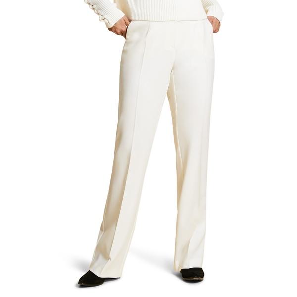 マリナリナルディ レディース カジュアルパンツ ボトムス Marina Rinaldi Regolare Wide Leg Stretch Wool Crepe Pants (Plus Size) White