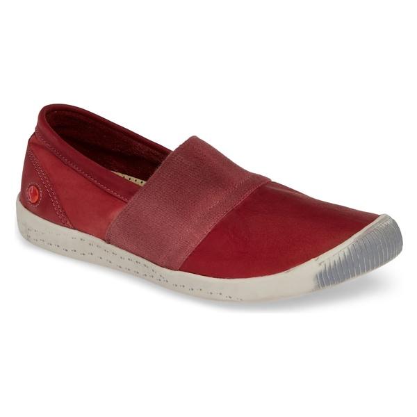 ソフチノス レディース スニーカー シューズ Softinos by Fly London Ino Slip-On Sneaker (Women) Red Leather