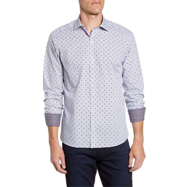 ブガッチ メンズ シャツ トップス Bugatchi Shaped Fit Diamond Print Button-Up Sport Shirt Navy