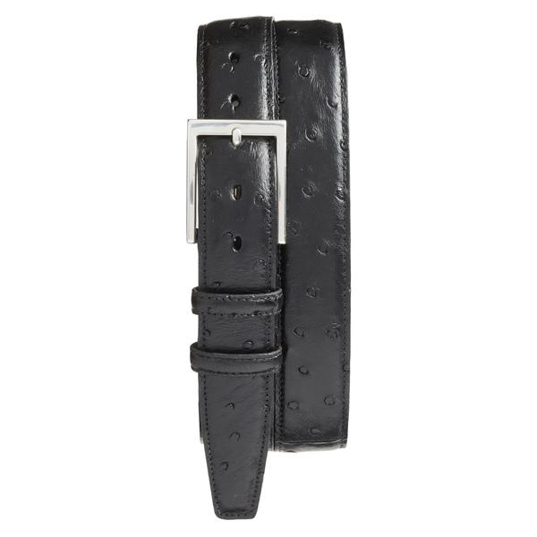 トリノ メンズ ベルト アクセサリー Torino Ostrich Leather Belt Black