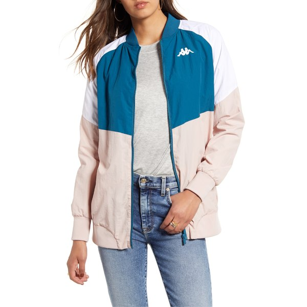カッパ レディース ジャケット&ブルゾン アウター Kappa Authentic 90 Bernina Nylon Track Jacket Blue Petrol/ Pink/ White
