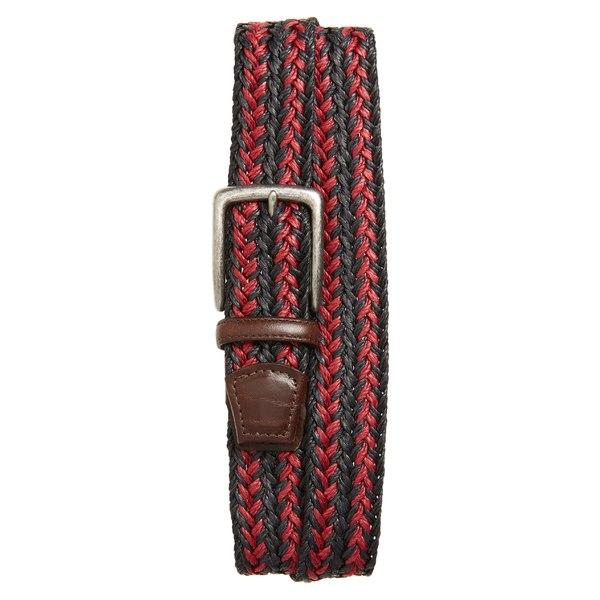 トリノ メンズ ベルト アクセサリー Torino Woven Linen Belt Navy/ Red