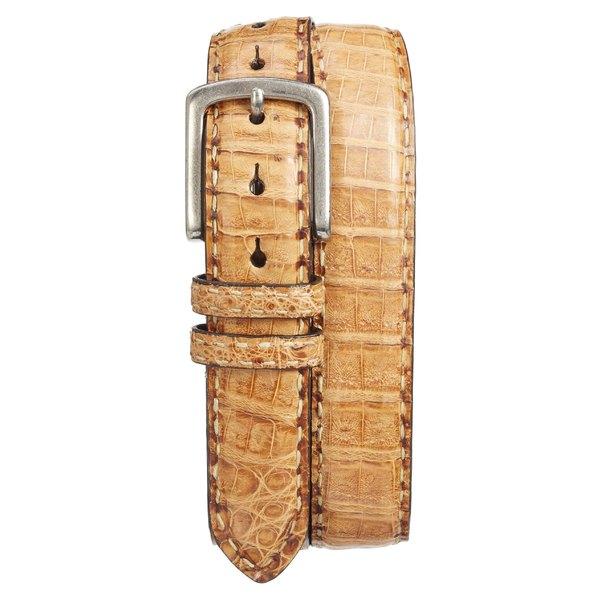 トリノ メンズ ベルト アクセサリー Torino Caiman Leather Belt Cognac