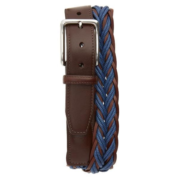 トリノ メンズ ベルト アクセサリー Torino Braided Cotton & Leather Belt Navy/ Brown