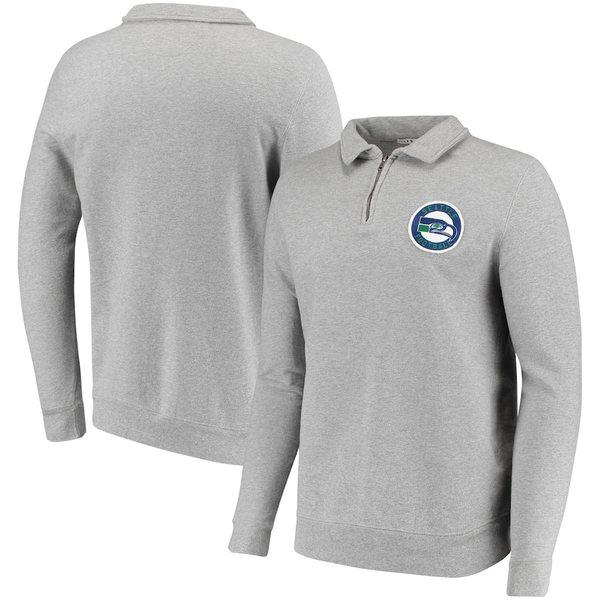 ジャンクフード メンズ シャツ トップス Seattle Seahawks Junk Food Sideline Quarter-Zip Pullover Sweater Heathered Gray