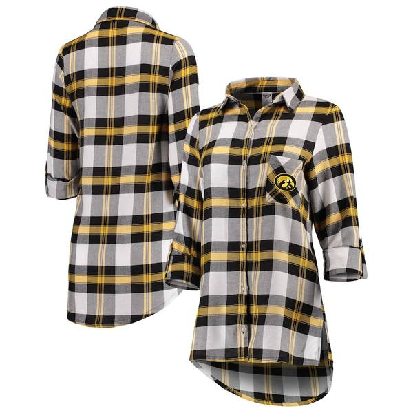 コンセプトスポーツ レディース シャツ トップス Iowa Hawkeyes Concepts Sport Women's Headway Rayon Flannel Shirt Black