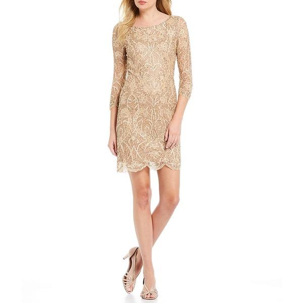 ピサッロナイツ レディース ワンピース トップス Embroidered Sequin Sheath Dress Rose