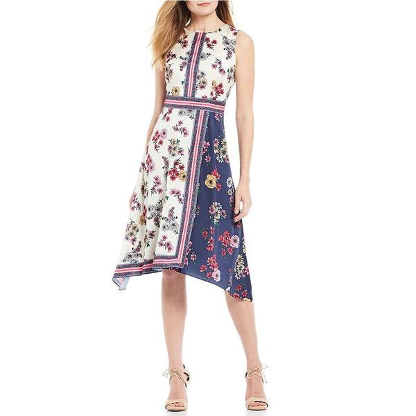 マギーロンドン レディース ワンピース トップス Floral Print Handkerchief Hem Sleeveless A-Line Midi Dress Ivory/Navy