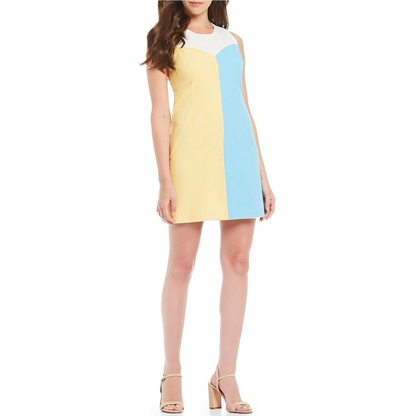 ジュリーブラウン レディース ワンピース トップス Leah Sleeveless Colorblock Shift Dress Blue Candy