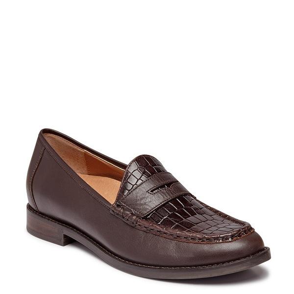 バイオニック レディース サンダル シューズ Waverly Croc Embossed Leather Penny Loafers Chocolate