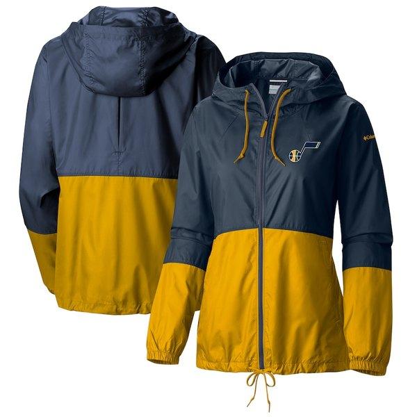 コロンビア レディース ジャケット&ブルゾン アウター Utah Jazz Columbia Women's Flash Forward Full-Zip Windbreaker Jacket Navy