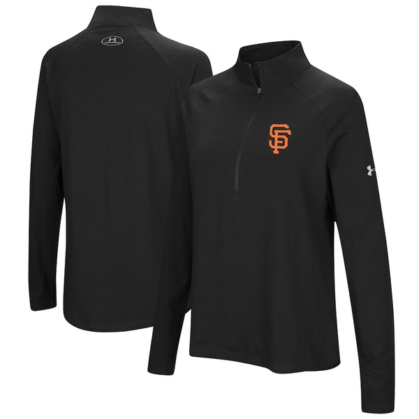 アンダーアーマー レディース ジャケット&ブルゾン アウター San Francisco Giants Under Armour Women's Passion Performance Tri-Blend Raglan Half-Zip Pullover Jacket Black