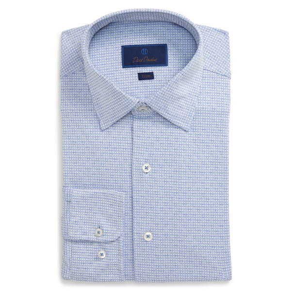 デイビッドドナヒュー メンズ シャツ トップス Trim Fit Geometric Dress Shirt Blue