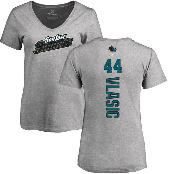 ファナティクス レディース Tシャツ トップス San Jose Sharks Fanatics Branded Women's Personalized Playmaker Slim Fit VNeck TShirt Heather Gray