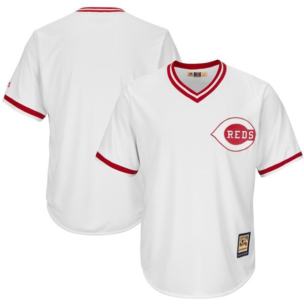マジェスティック メンズ ユニフォーム トップス Cincinnati Reds Majestic Cooperstown Cool Base Team Jersey White
