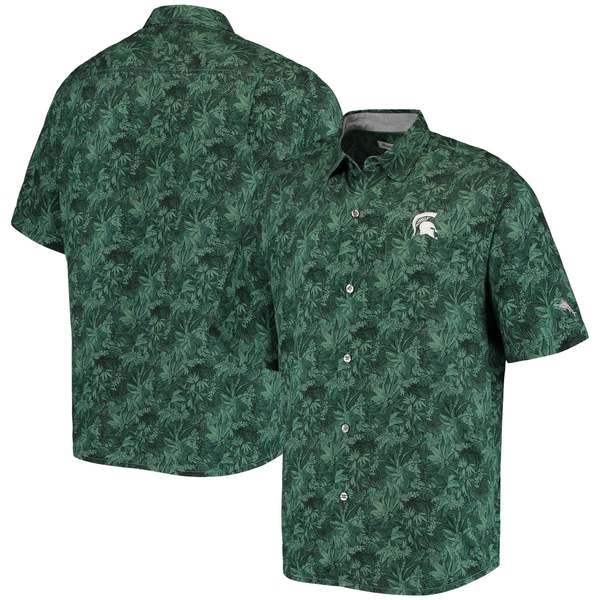 トッミーバハマ メンズ シャツ トップス Michigan State Spartans Tommy Bahama Sport Jungle Shade Camp ButtonUp Shirt Green