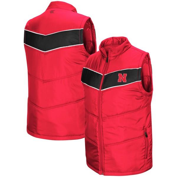 コロシアム メンズ ジャケット&ブルゾン アウター Nebraska Cornhuskers Colosseum Red Beaulieu Puff FullZip Vest Scarlet