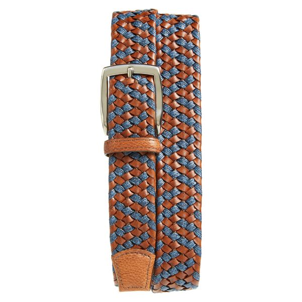 トリノ メンズ ベルト アクセサリー Torino Braided Leather & Linen Belt Cognac/ Navy