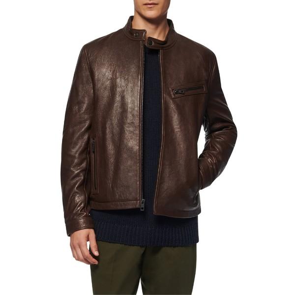 アンドリューマーク メンズ ジャケット&ブルゾン アウター Andrew Marc Cumberland Leather Racer Jacket Espresso