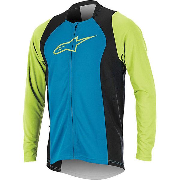 アルパインスターズ メンズ サイクリング スポーツ Alpine Stars Men's Drop 2 Full Zip LS Jersey Bright Blue / Green