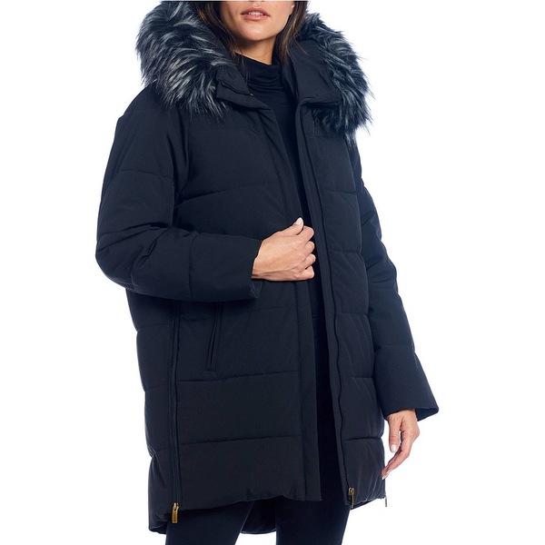 トミカチョウ ダナキャラン レディース コート アウター Faux Fur Trim Hooded Quilted Cocoon Down Coat Black, インポートギフト アンティエーレ 136c4898