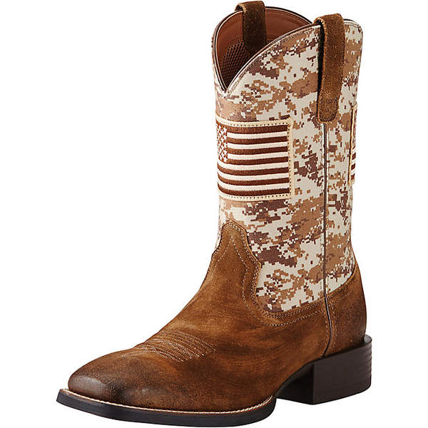 アリアト メンズ ブーツ&レインブーツ シューズ Ariat Men's Sport Patriot Boot Antique Mocha Suede/Sand Camo