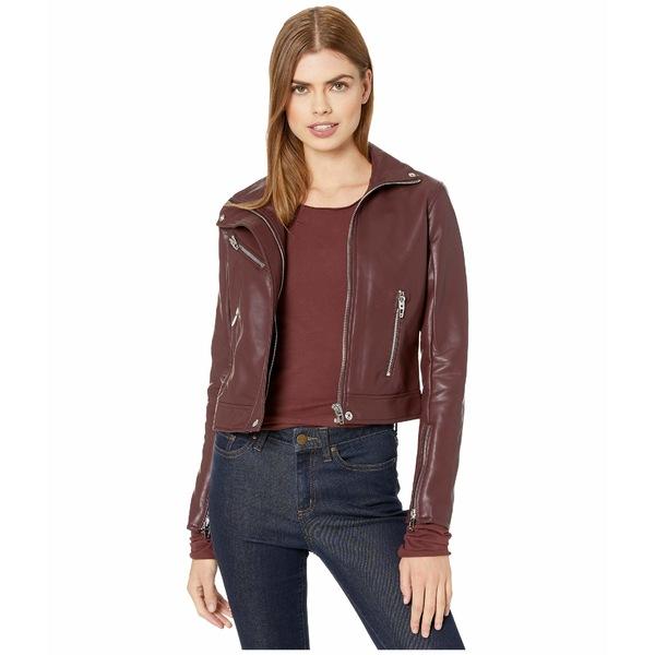 ブランクニューヨーク レディース コート アウター High Collar Vegan Leather Moto Jacket in Merlot Burgundy
