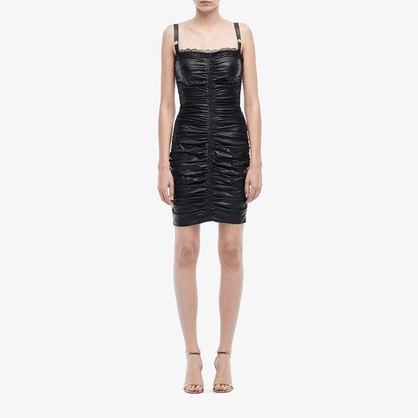 ベルサーチ レディース ワンピース トップス Eco Leather Ruched Dress Black